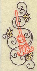 Witch Broom & Swirls embroidery design