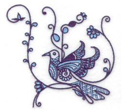 Bird Floral embroidery design
