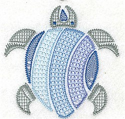 Jacobean Sea Turtle embroidery design