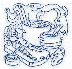 Stew Pot & Vegetables embroidery design