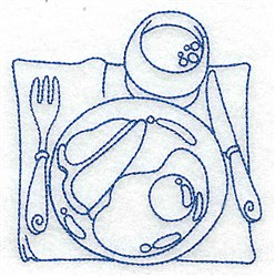 Breakfast Place Setting embroidery design