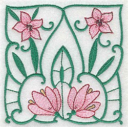 Pink Lily Block embroidery design