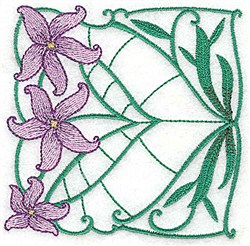 Purple Lily Block embroidery design