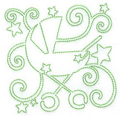 Baby Carriage Redwork embroidery design