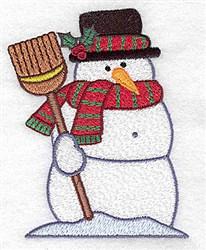 Snowman Broom embroidery design