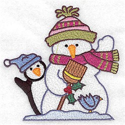 Snowman Penguin embroidery design