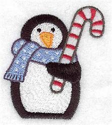 Penguin Candycane embroidery design