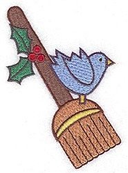 Broom Bluebird embroidery design