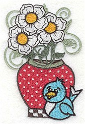 Flowers In Vase embroidery design