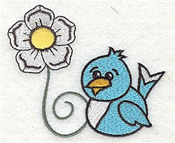 Bluebird  Floral embroidery design
