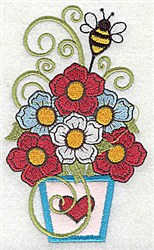 Flowers & Bee embroidery design
