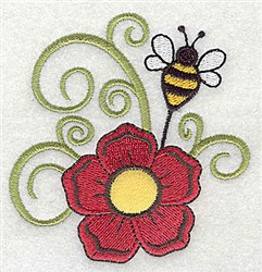 Flower With Bee embroidery design