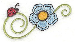 Ladybug & Flower embroidery design