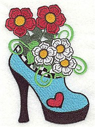 Floral High Heel embroidery design