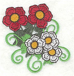 Flowers & Swirls embroidery design