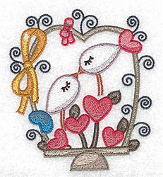 Kissing Birds Basket embroidery design