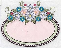 Oval Daisy Applique embroidery design
