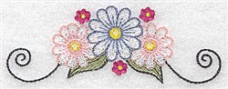 Daisies With Swirls embroidery design