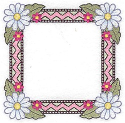 Daisy Zigzag Frame embroidery design