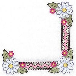 Daisy & Zigzag Corner embroidery design