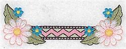 Daisy & Zigzag Border embroidery design