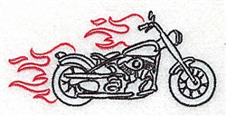 Flaming Motorcycle Outline embroidery design