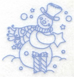 Snowman With Gift embroidery design