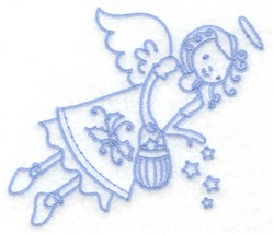 Flying Angel With Stars embroidery design