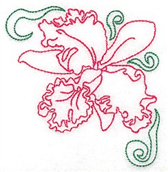 Orchid Outline embroidery design