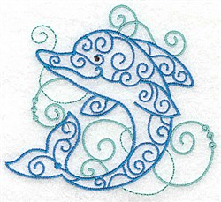 Dolphin Of Swirls embroidery design