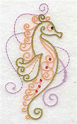 Swirly Seahorse embroidery design