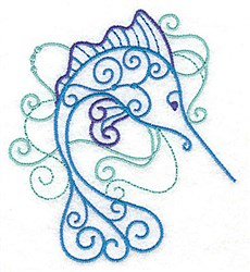 Swirly Marlin embroidery design