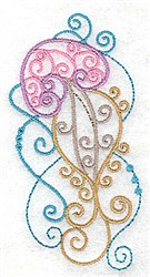 Swirly Jellyfish embroidery design