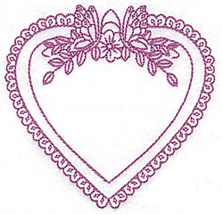 Floral Heart Frame embroidery design