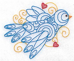 Bird & Hearts Outline embroidery design