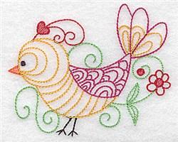 Bird & Flower Outline embroidery design