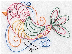 Swirly Bird Outline embroidery design
