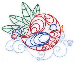 Sleeping Bird Outline embroidery design
