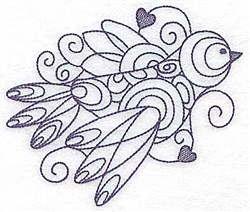 Bird & Hearts Bluework embroidery design