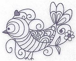 Bird & Flower Bluework embroidery design