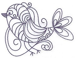 Swirly Bird Bluework embroidery design