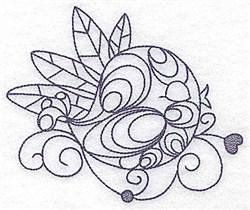 Sleeping Bird Bluework embroidery design