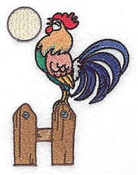 Rooster On Fence embroidery design