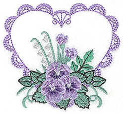 Pansy Heart embroidery design