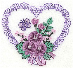 Butterfly, Flowers & Heart embroidery design