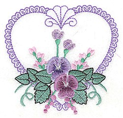 Floral Heart & Shell embroidery design