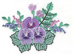 Pansies & Buds embroidery design