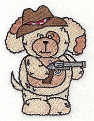 Pudgy Puppy With Pistol embroidery design