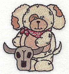 Puppy With Steer Skull embroidery design