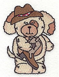 Puppy With Cowboy Boot embroidery design
